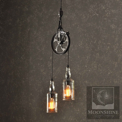 The Warehouser Industrial Farm Pulley Chandelier
