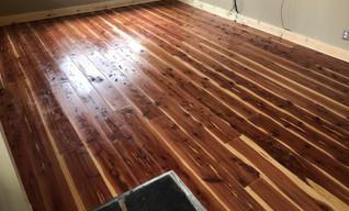 Cedar plank floor