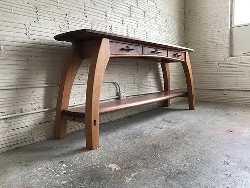 Walnut and Oak Console