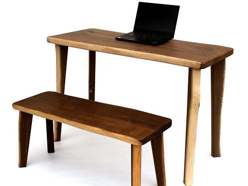 Live Edge Desk and Live Edge Bench COMBO with Interchangeable Legs