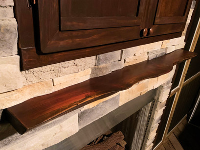 Custom Cabinets and Live Edge Mantel