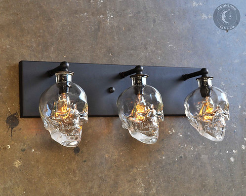 Skull Vanity Light with Recycled Glass