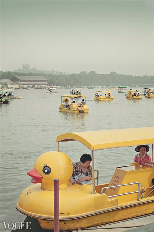 Yellow duck boat
