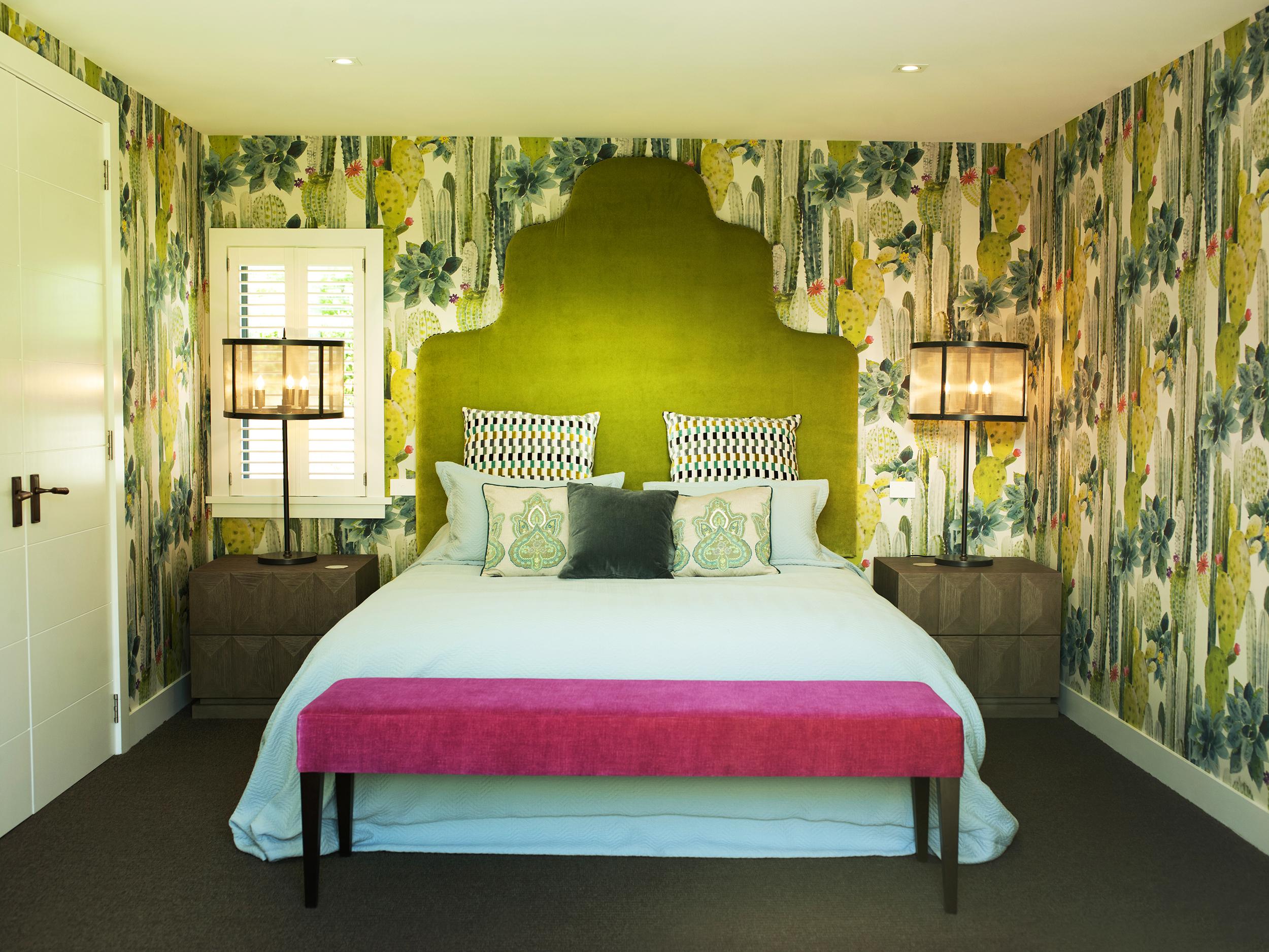 Wallpapering interior bedroom
