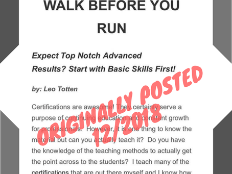 Totten Training Throwback: Walk Before You Run