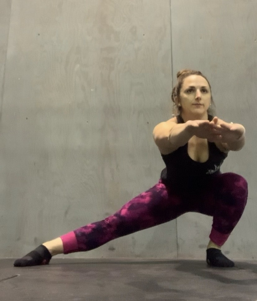Cossack Squat. 3 sets of 8-15 reps, gradually add weight.