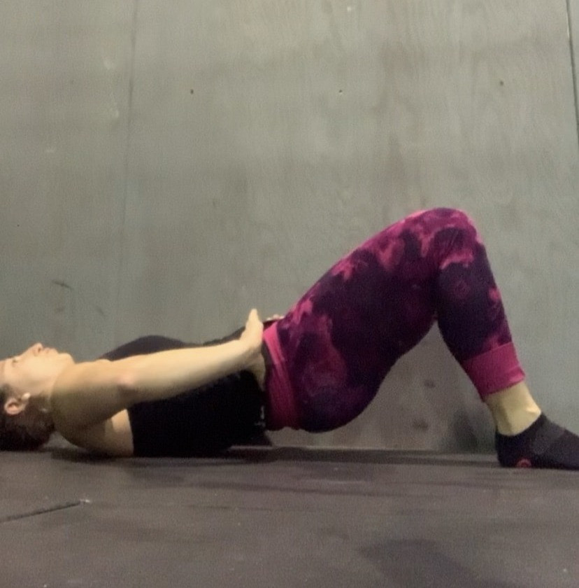 Glute bridge with posterior hip tilt on exhale.  3 sets of 5-15 reps.