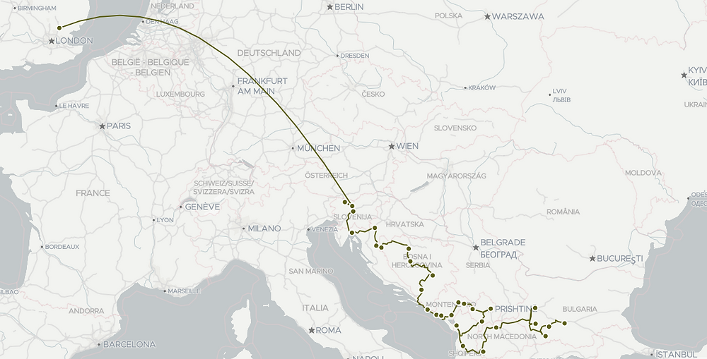 A map showing my route through the Balkans