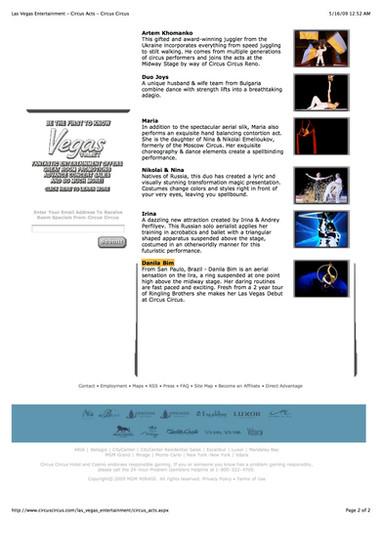 Las Vegas Entertainment - Circus Acts -