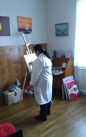 Au travail dans mon atelier