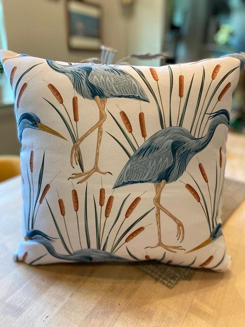 Blue grey heron outdoor pillow cover