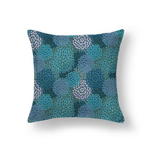 Blue floral indoor pillow
