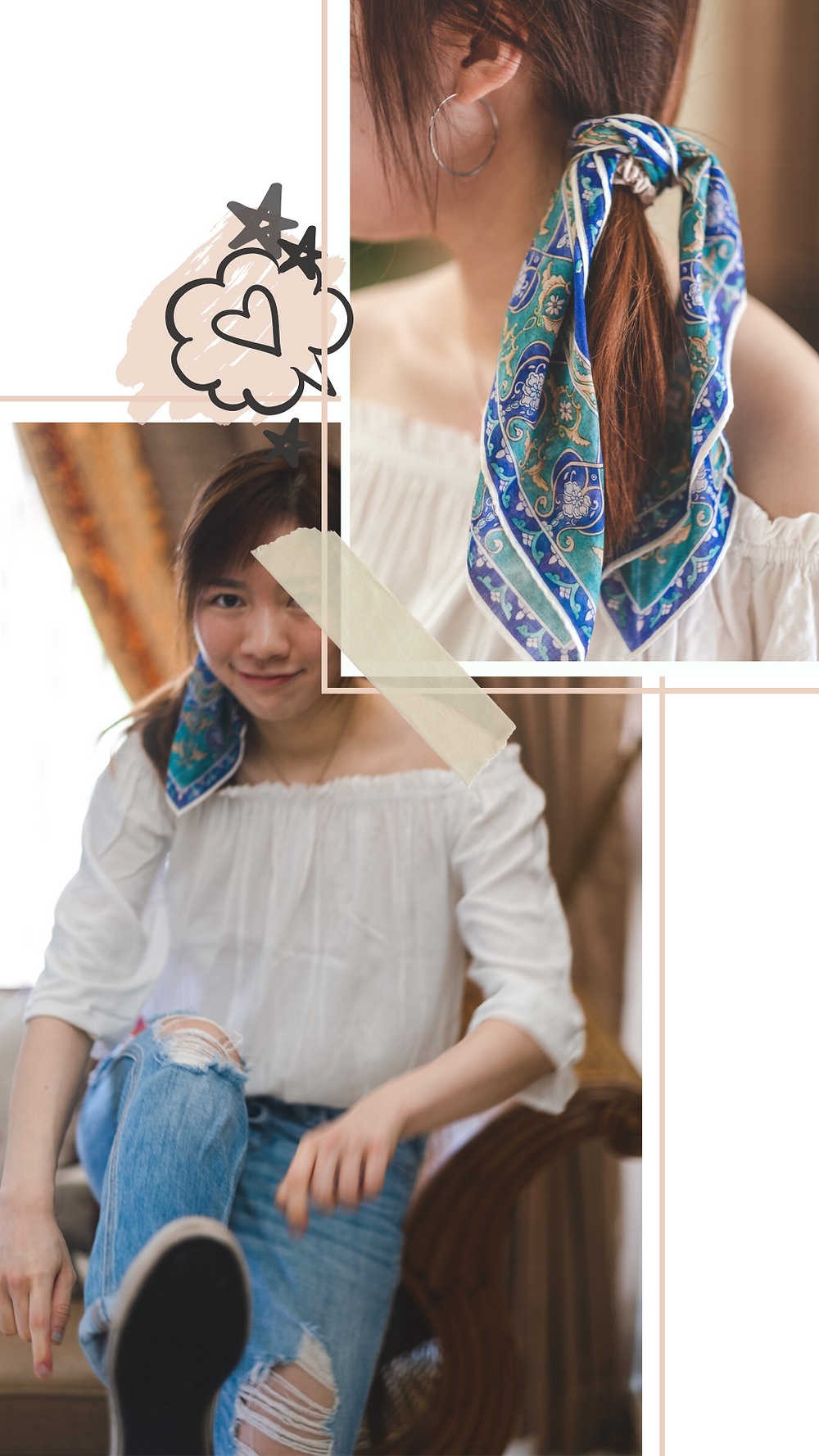 White ruffle off-shoulder top styled with blue bandana and silver hoop earrings, RollingBear Travels.