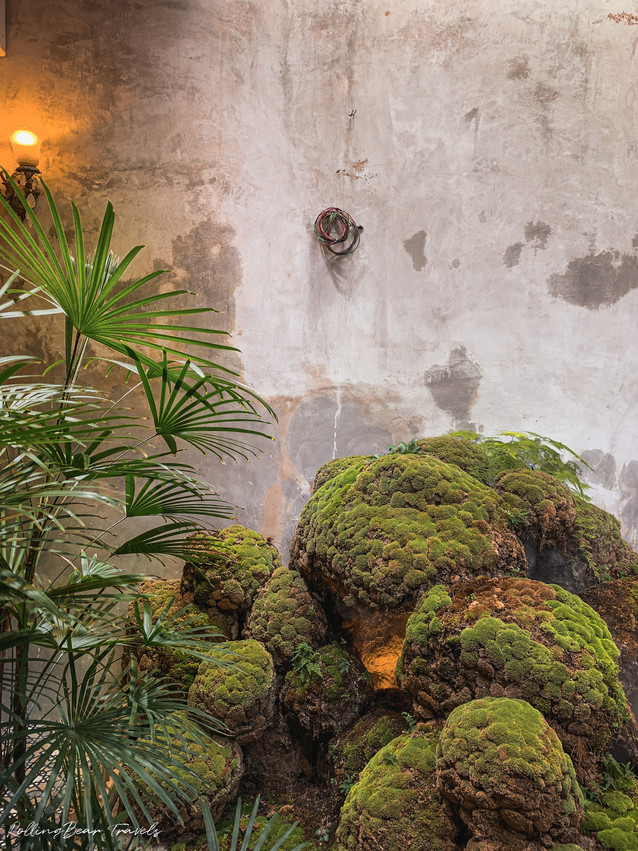 Penang beautiful Chinese restaurant interior: Indoor Chinese water fountain and plants | RollingBear Travels.