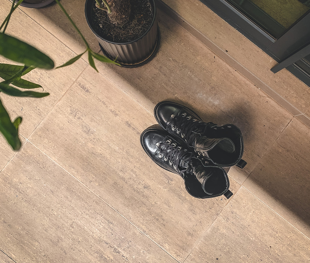Top-down photo of AllSaints black Franka leather military boots