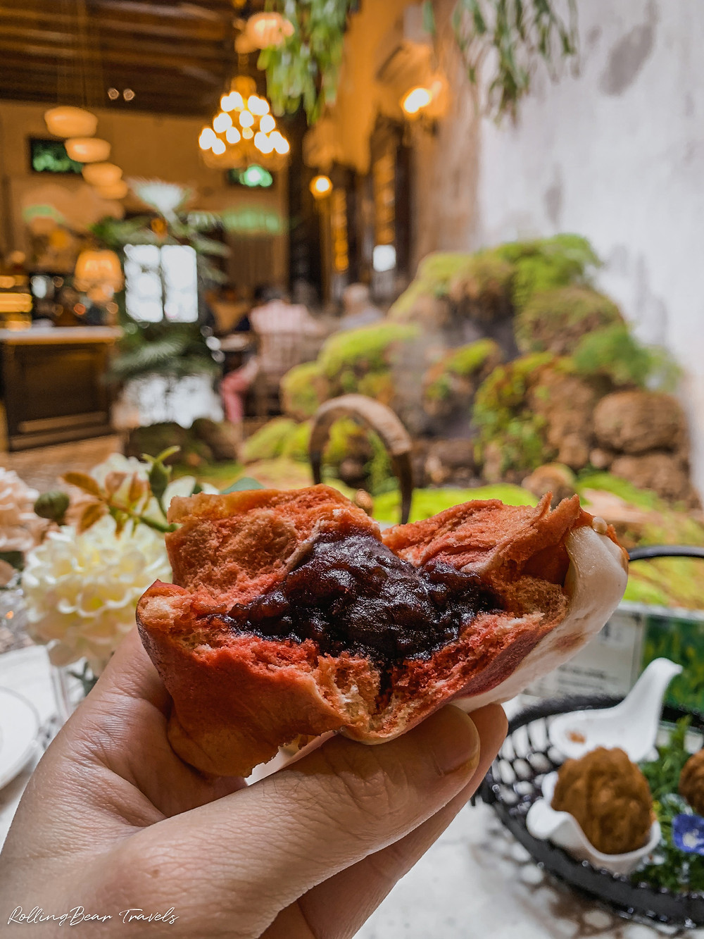 Bao Teck Teahouse food review: Beetroot red bean bun food photography by RollingBear Travels.