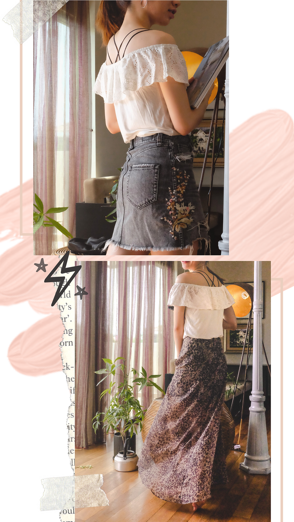 Fashion collage styling Miss Selfridge lace top, denim skirt, and AllSaints leopard print skirt, RollingBear Travels blog.