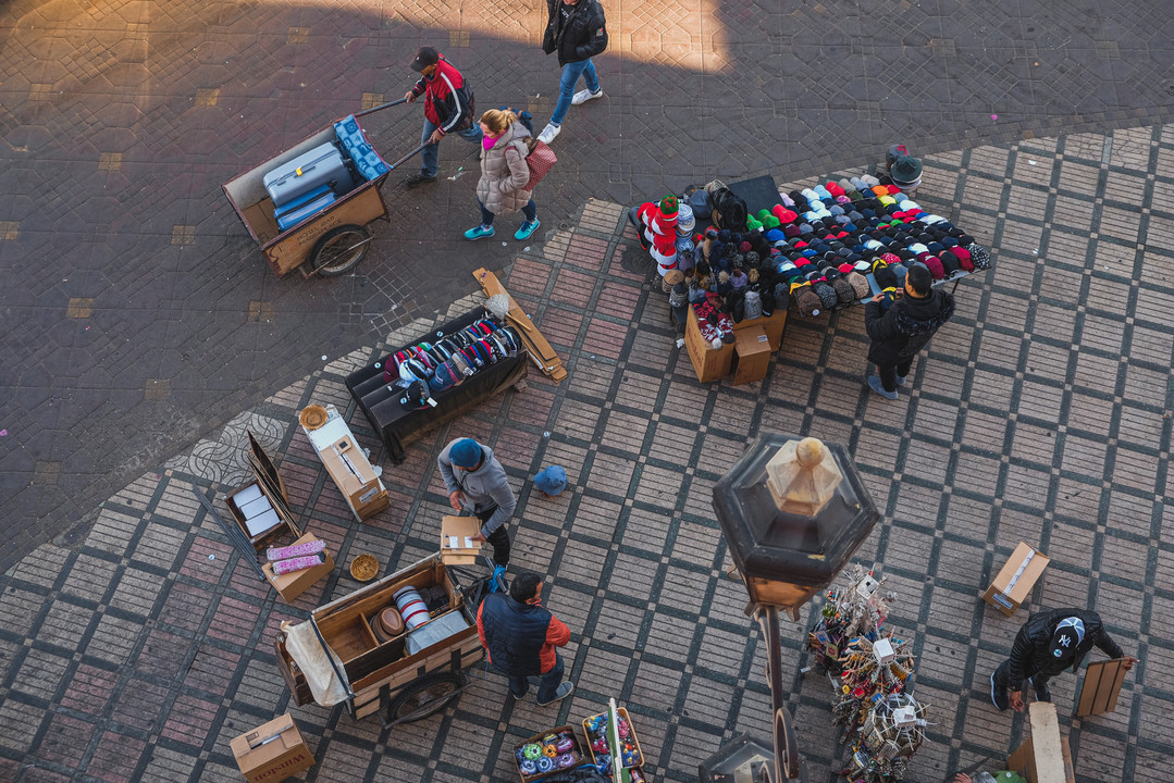 Top view of vendors setting up stalls at the Jemaa el-Fna | RollingBear Travels