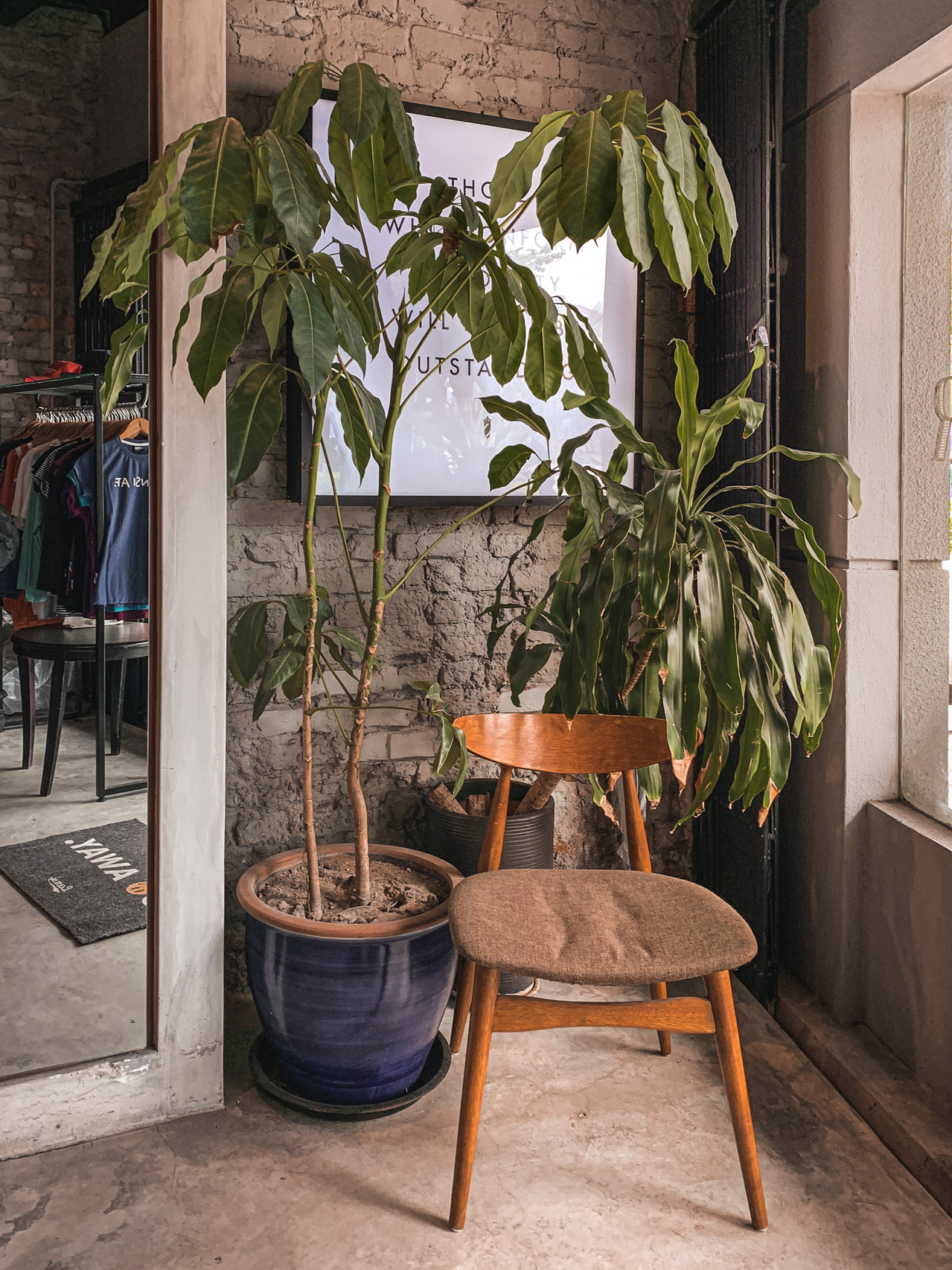 Rustic brick wall with indoor plants and chair corner, The Swagger Salon interior photography, RollingBear Travels blog.