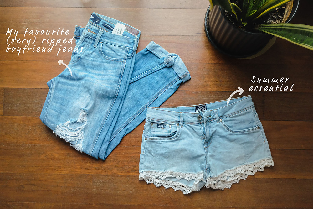 Blue SuperDry denim shorts with lace detail and Hollister ripped boyfriend jeans, RollingBear Travels blog.