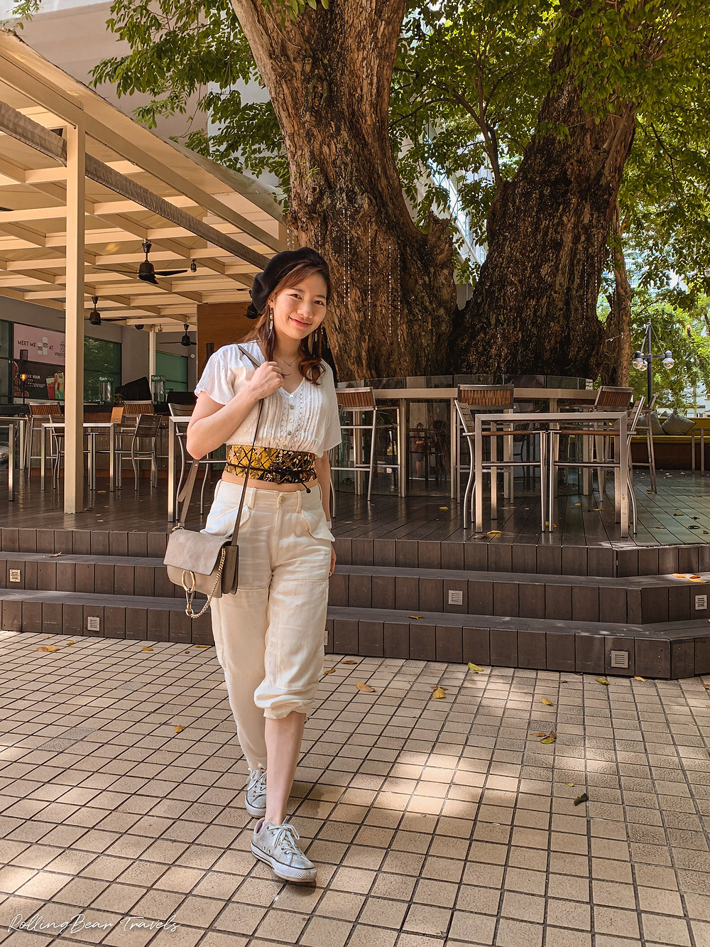 Style blogger in Pull&Bear lace crop top, white cargo pants, black beret, Converse sneakers, and Kimono belt   RollingBear Travels.