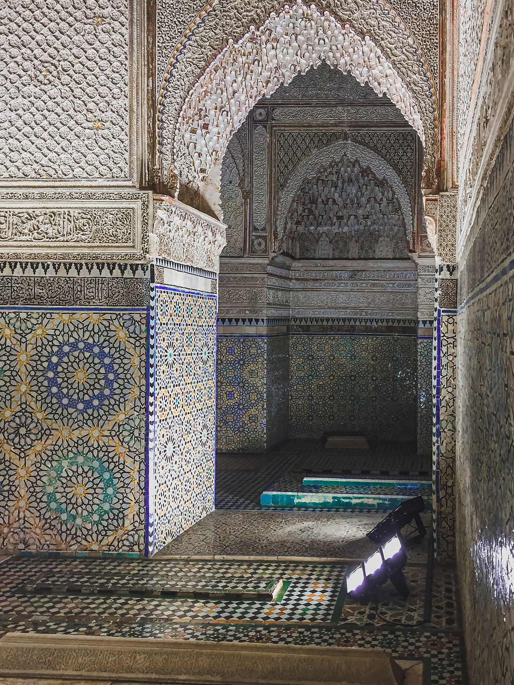 Moroccan architectural detail and vibrant patterned tiles of the Saadian Tombs | RollingBear Travels