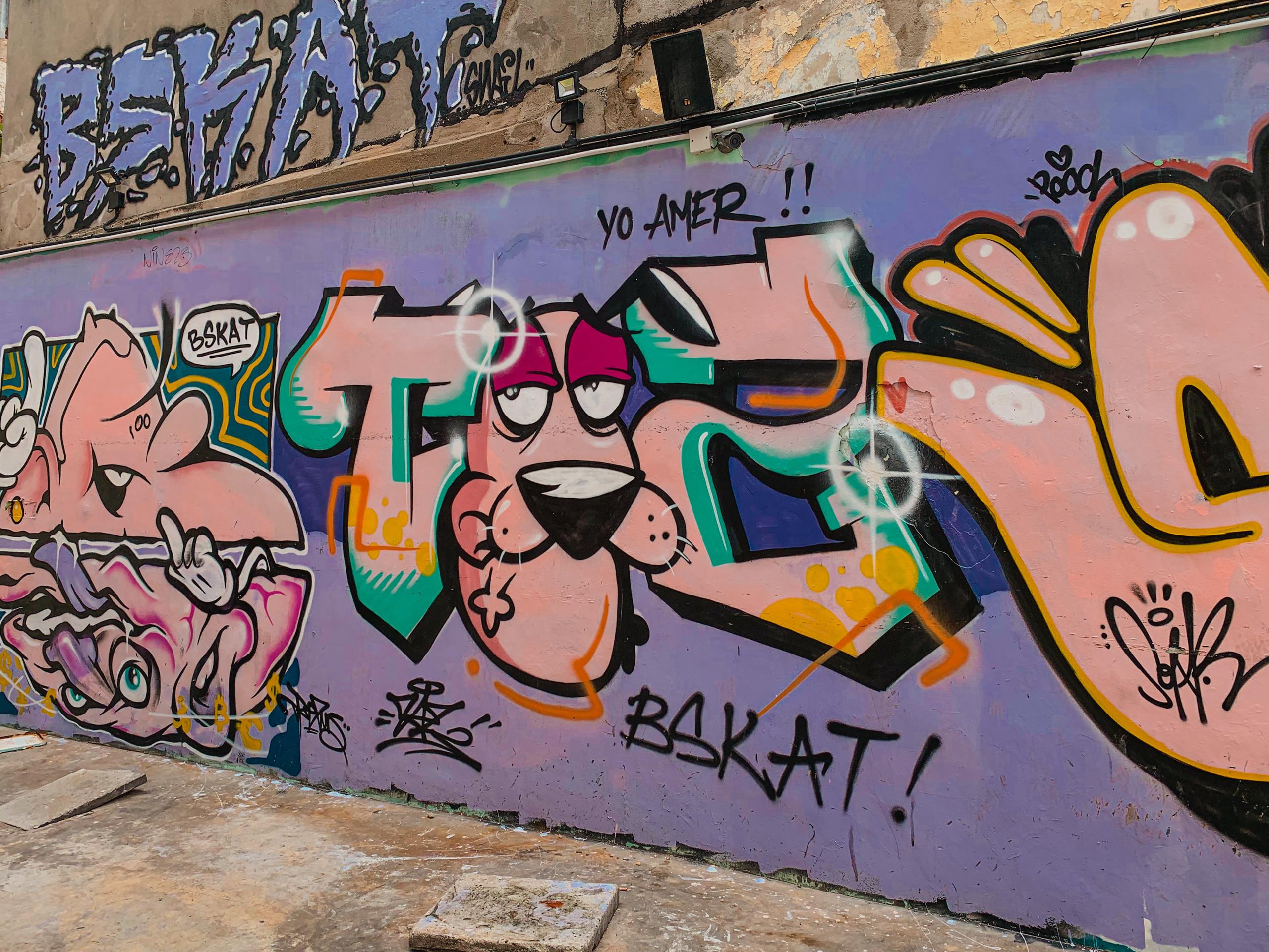 Colourful street art mural, Hin Bus Depot, Penang, RollingBear Travels photography.