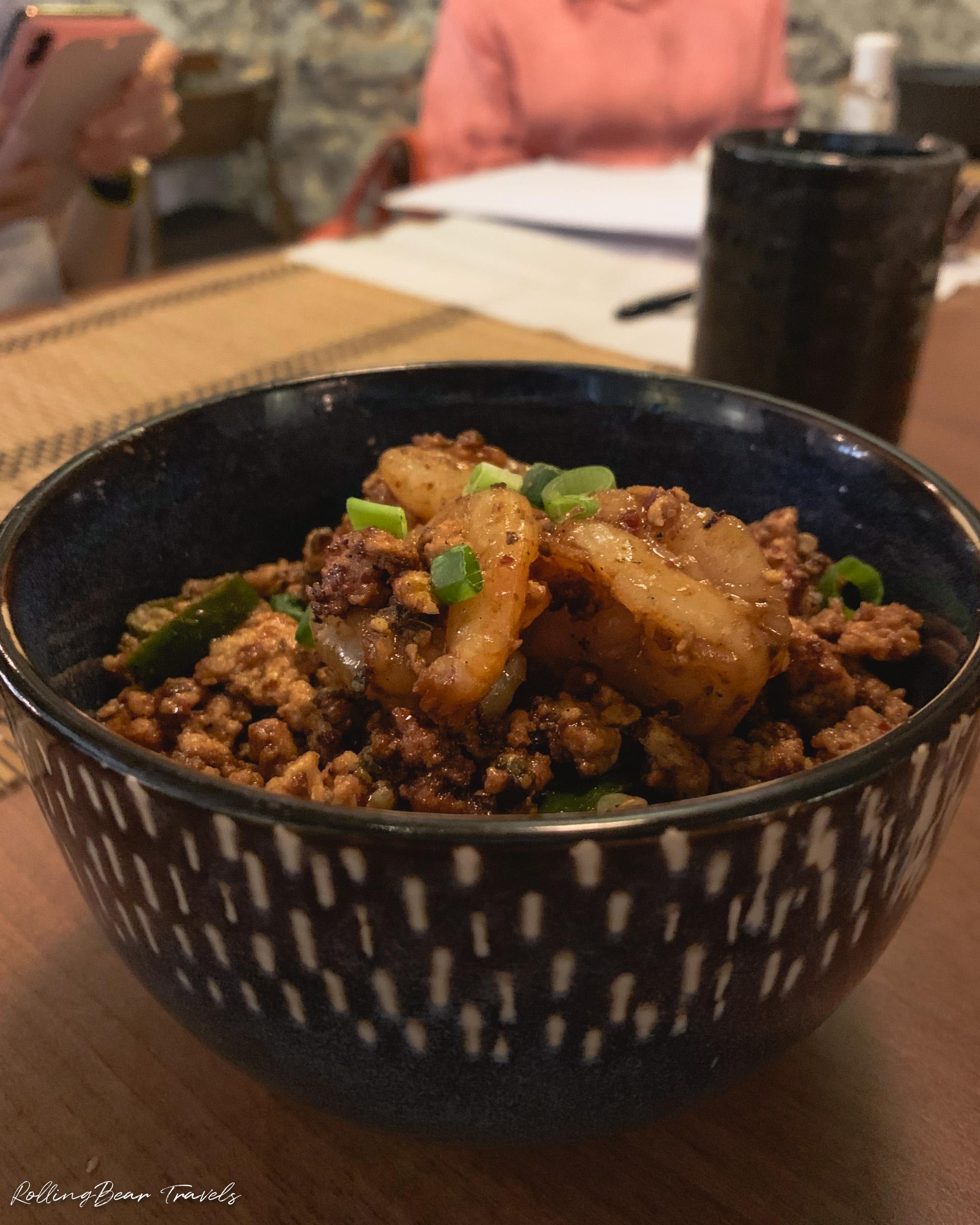 Sichuan Pepper Shrimp Donburi, 二更Clock Eleven food | RollingBear Travels.