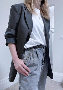 White tee, grey jeans, blazer, edgy outfit by petitestylereport, RollingBear Travels blog.