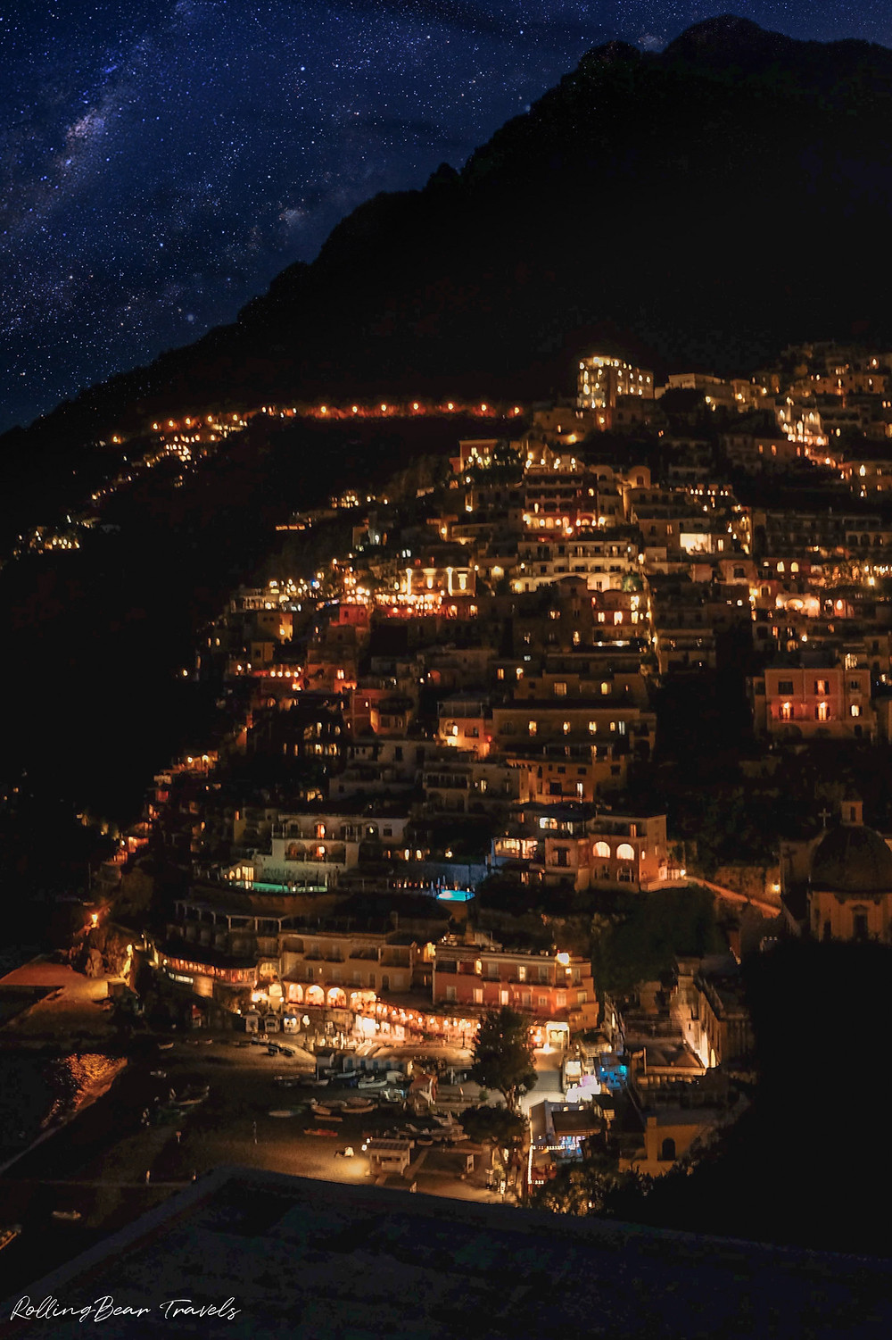 Beautiful Italy travel photography: Positano night scene under a starry sky | RollingBear Travels.