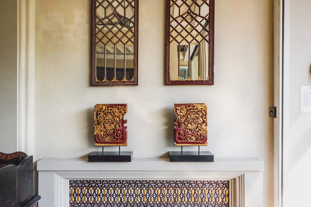 Peranakan motif mirrors, antique Chinese gold-gilded wall cabinet components at the Seven Terraces / RollingBear Travels blog.