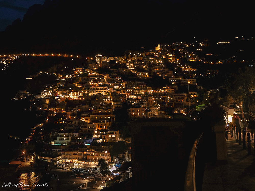 Italy travel photography: Positano night scene | RollingBear Travels.