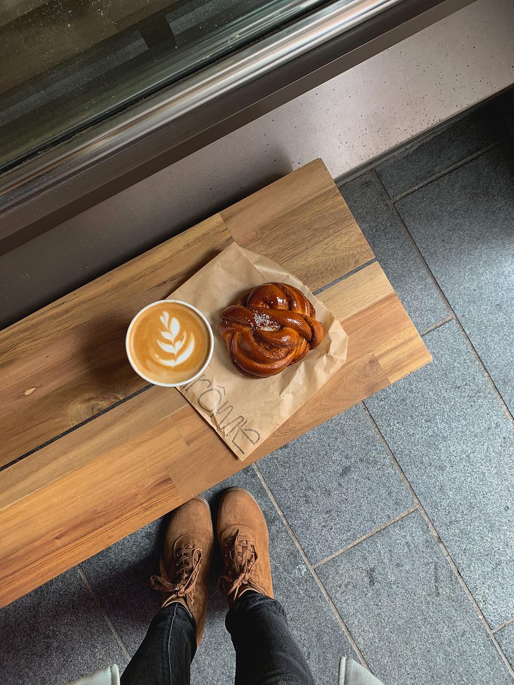 Latte and gula Melaka coconut roll at Arome Bakery, London | RollingBear Travels