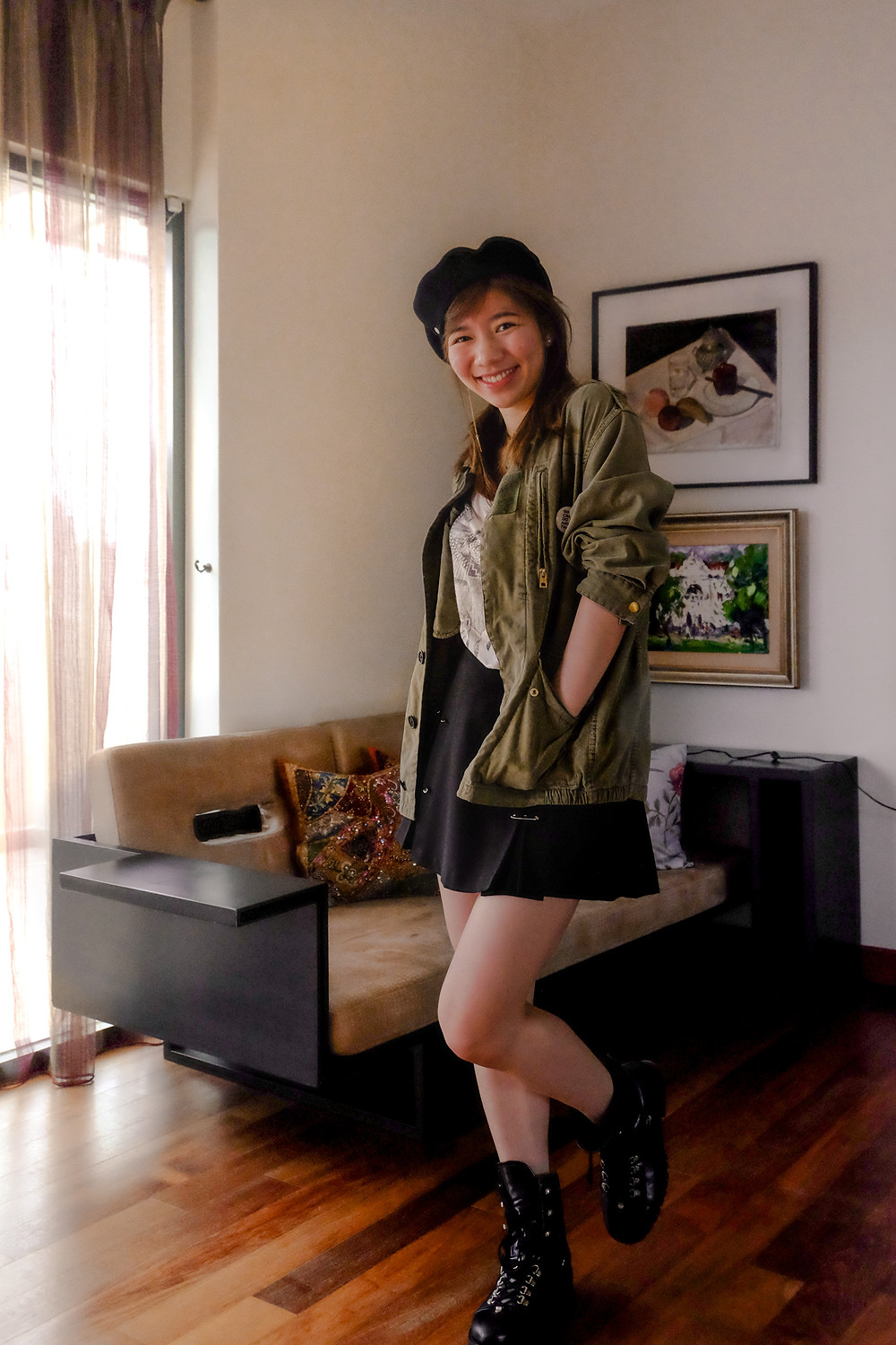 Zadig & Voltaire olive military oversized shirt, loose white tee, high-waisted black skirt, AllSaints military boots, black beret outfit, RollingBear Travels blog.