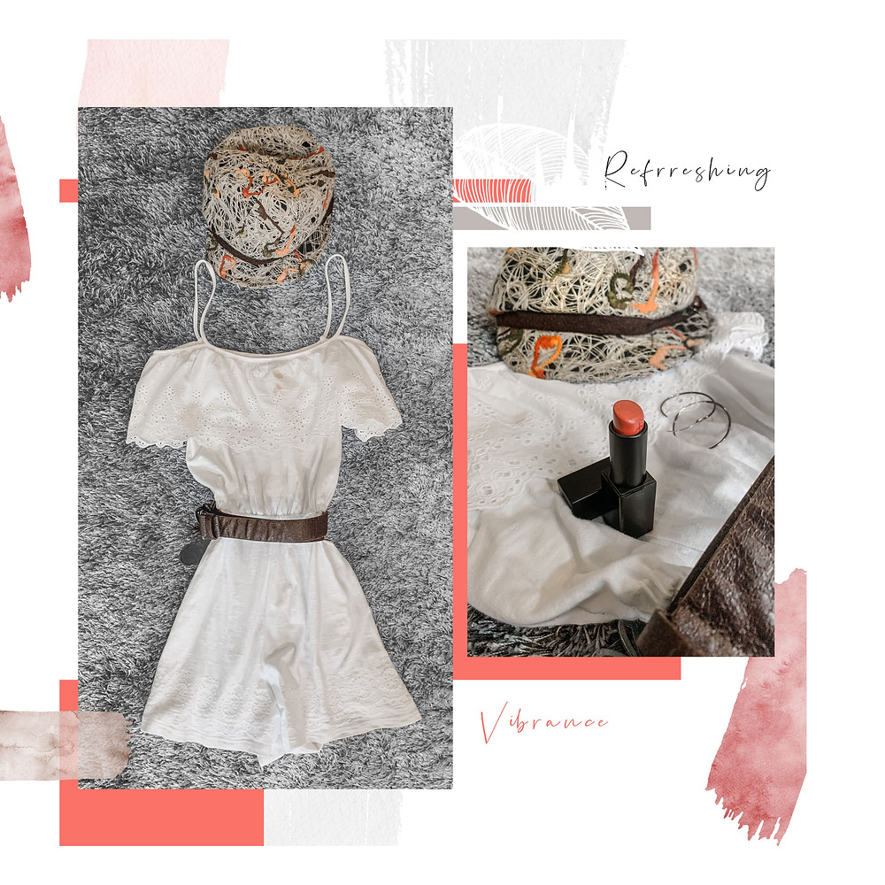 RollingbearTravels Blog / white romper outfit, brown leather belt, rose NARS audacious lipstick, colourful vintage page boy cap