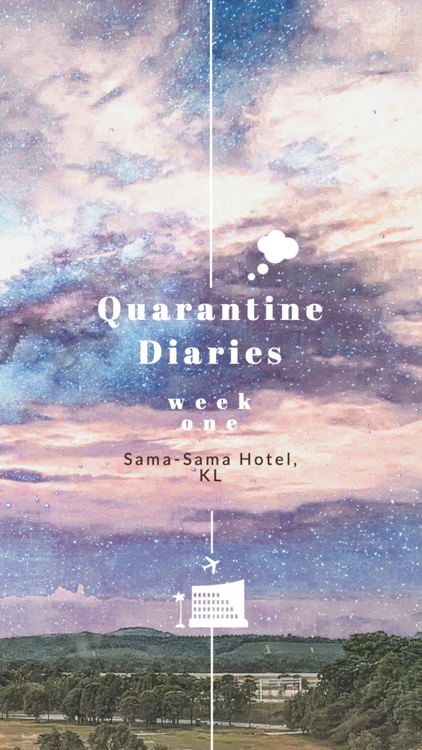 Rollingbear Travels blog/ abstract purple sky collage cover for Quarantine diaries part two in Sama-Sama Hotel, KL
