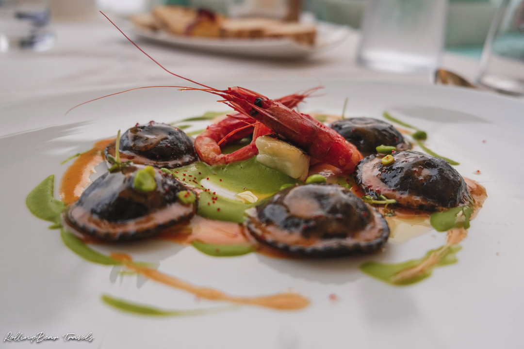 Terrazza Celè Restaurant food photography: squid ink ravioli with shrimp | RollingBear Travels.