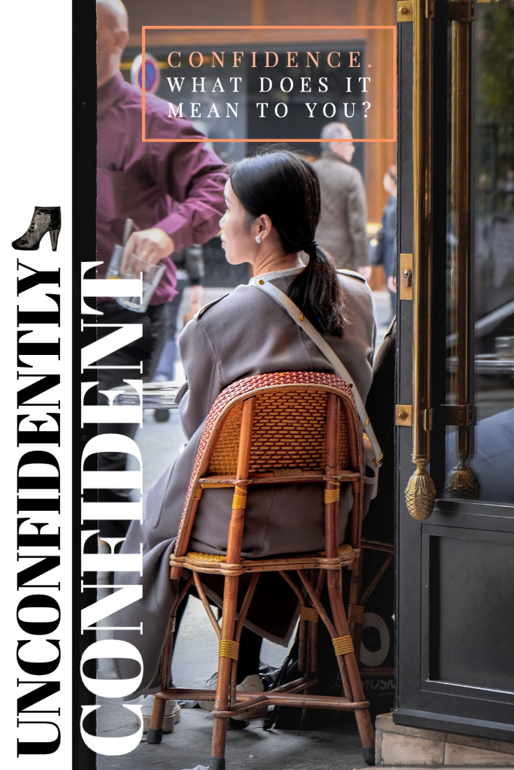 Rollingbear Travels blog/ Cover collage entitled Unconfidently Confident, asian girl sitting on a rattan chair