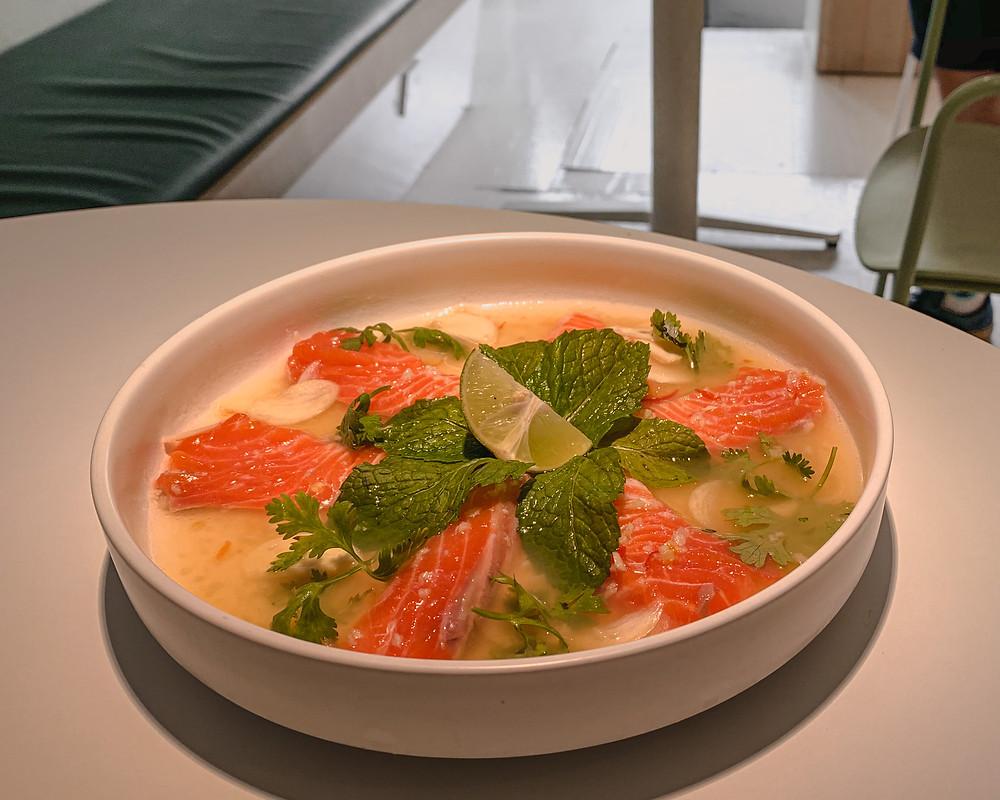 Island Problems food photography: Salmon Krapacio appetiser | RollingBear Travels.
