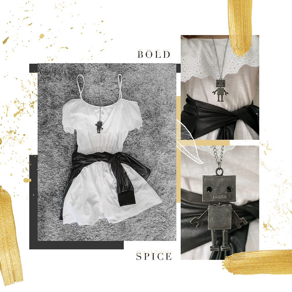 RollingbearTravels Blog / white romper outfit, robot pendant chain necklace, black jacket, gold theme moodboard