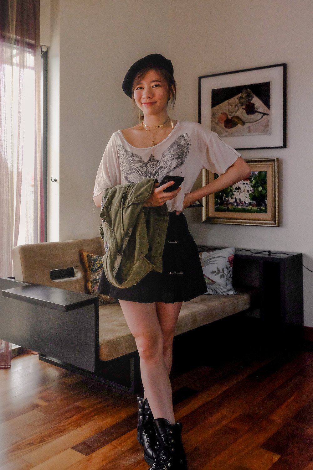 Denim and Supply white tee, high-waisted black skirt, AllSaints military boots, black beret outfit, RollingBear Travels blog.