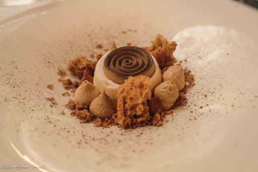 Al Palazzo restaurant dessert: Chocolate mousse with chocolate sponge and soil | RollingBear Travels.