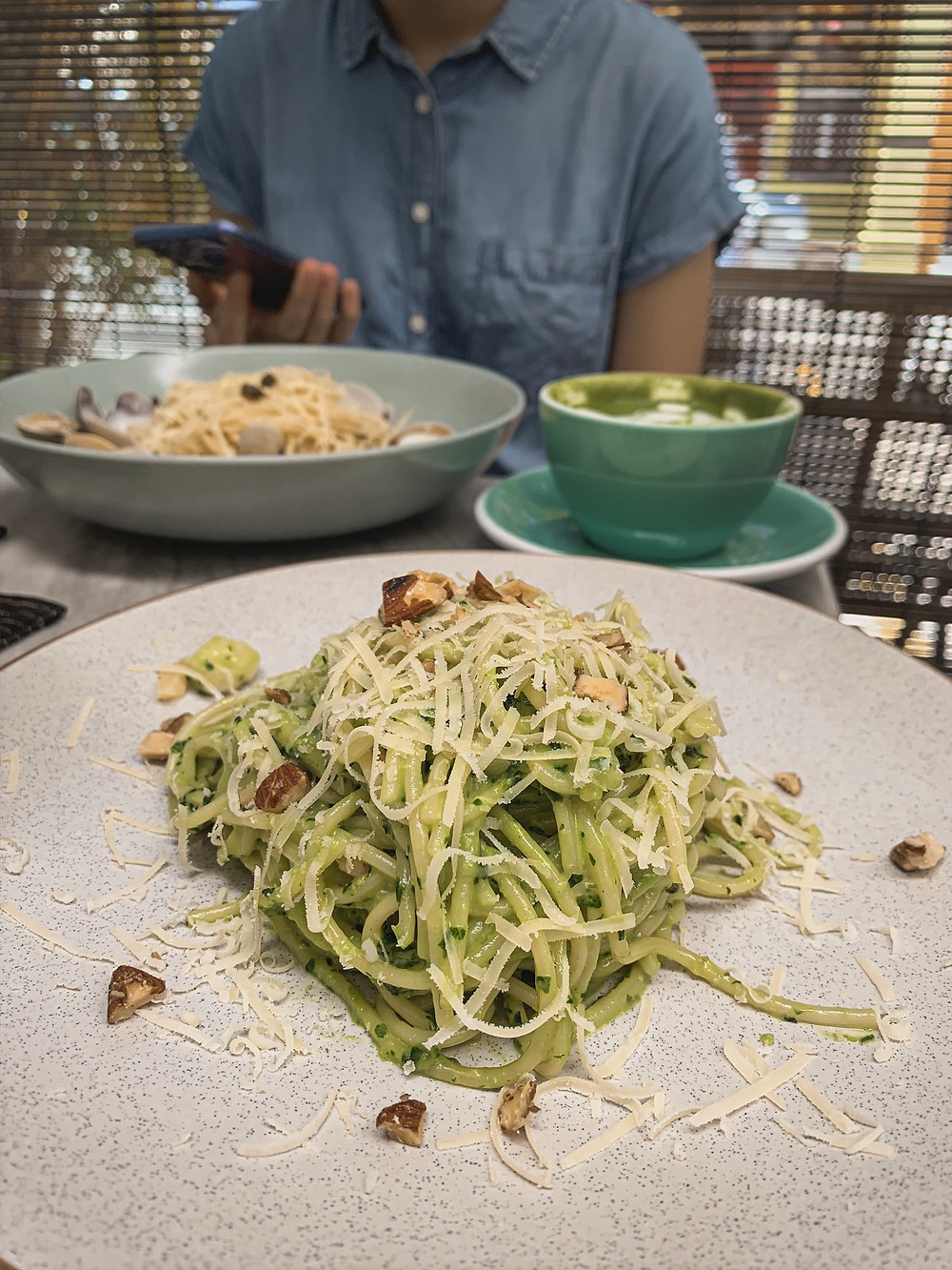 Norm cafe menu : pesto pasta, shaved parmesan, nuts, RollingBear Travels.