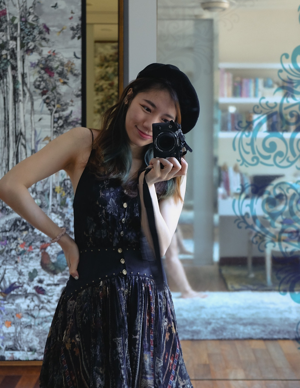 Black beret and Camilla black dress styled by RollingBear Travels.