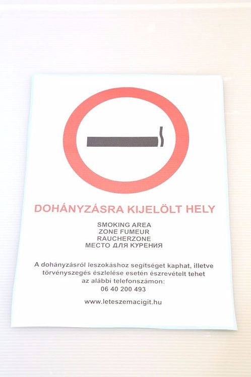 Matrica  Dohányzásra Kijelölt hely  felirattal