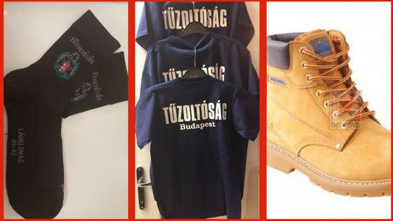 Tűzoltós zokni, Tűzoltóság feliratú póló, munkavédelmi cipő