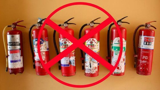 Nem szabályos tűzoltó készülékek