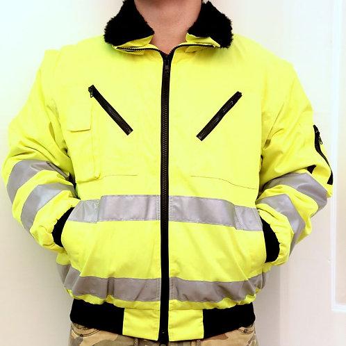 Láthatósági kabát UV zöld bélelt