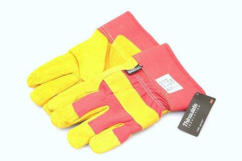 Munkavédelmi kesztyű textil/bőr  piros /sárga