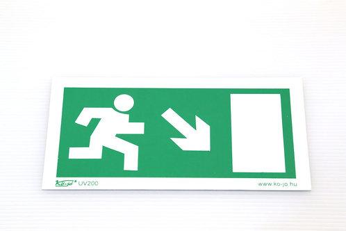 Menekülési út jelző piktogram  Jobb lefelé  utánvilágÍtós